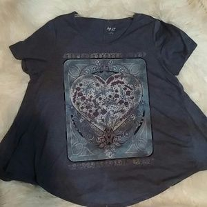 Style & Co. A-LINE Heart Blu Floral Graphic tee 1X